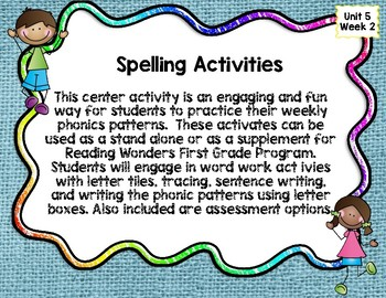 Reading Wonders First Grade  Unit 5 Week 2 Word Work Activites