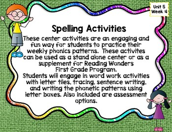 First Grade Reading Wonders Unit 5 Week 4 Work Work Activities