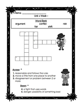 First Grade Reading Wonders Unit 6 Oral Vocabulary Crossword Puzzles!