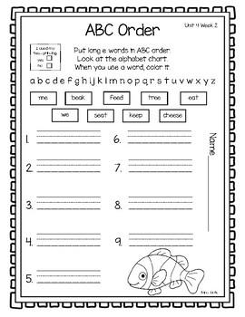 1st Grade Reading Wonders Weekly Word Work-Unit 4