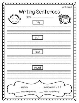 1st Grade Reading Wonders Weekly Word Work-Unit 5