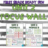 First Grade Ready Get Unit 2 Focus Wall- Cactus/Watercolor theme