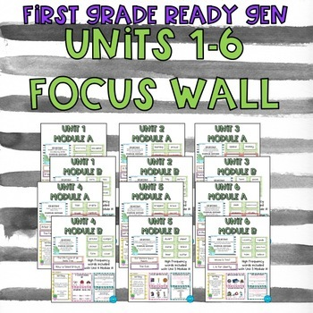 First Grade ReadyGen Units 1-6 Focus Wall- Cactus/Watercolor theme BUNDLE