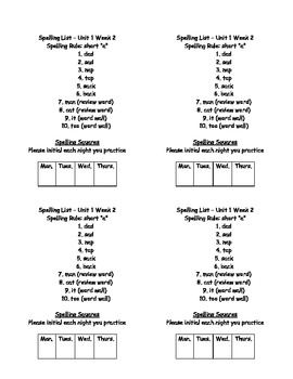 First Grade Ready-to-Print Spelling Lists (On-Level)