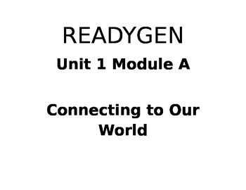 First Grade ReadyGen Unit 1 Module A