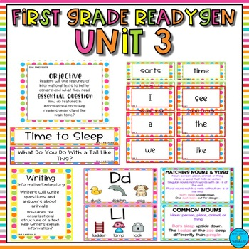 First Grade ReadyGen Unit 3 Focus Wall- Bright Polka Dots