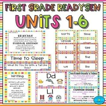 First Grade ReadyGen Units 1-6 Focus Wall- Bright Polka Dots BUNDLE!