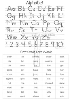 First Grade Reference Sheets