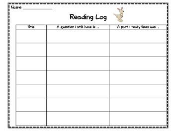 First Grade Reflective Reading Log