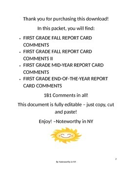 First Grade Report Card Comments BUNDLE