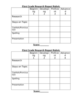 First Grade Report Rubric