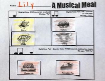 First Grade Rhythm and Composition Packet - Thanksgiving Theme