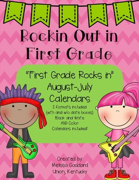 First Grade Rocks 12 Month Calendars (Color and B&W) 48 total
