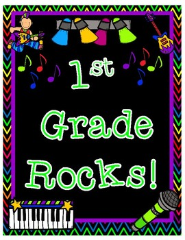 First Grade Rocks Back to School Pair and Share Rock Star Themed Poster Activity