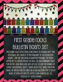 First Grade Rocks Chevron Pennant Bulletin Board Display