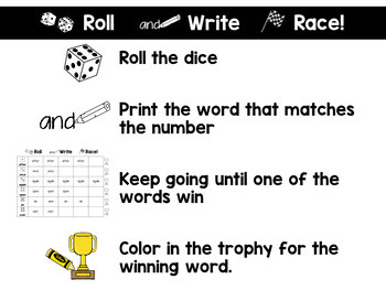 First Grade Roll and Race Editable Sight Word Centers