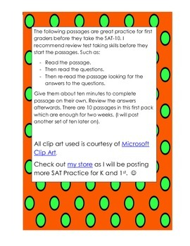 First Grade SAT-10 Practice Passages