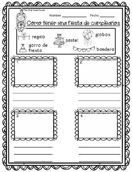 First Grade {SPANISH}: How-To Writing Prompts Set {With Word Banks!}