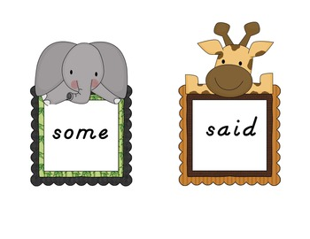First Grade Safari Theme Sight Words 66 Word Packet