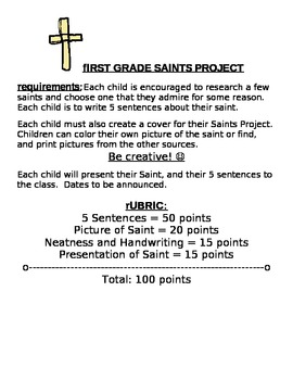 First Grade Saints Project