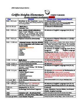First Grade Sample Class Schedule