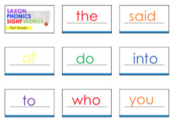First Grade Saxon Phonics {Sight Words} Flash Cards- {White with Primary Colors}