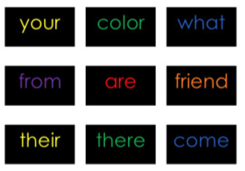 First Grade Saxon Phonics {Sight Words} Flashcards- {Black with Primary Colors}
