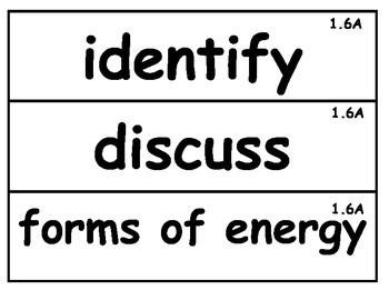 First Grade Science Academic Vocabulary