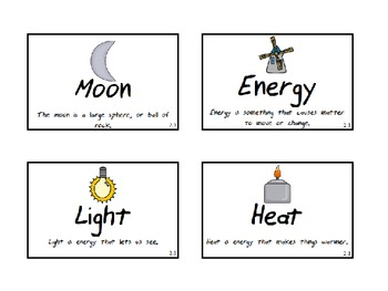 First Grade Science Fusion Vocabulary Cards with Pictures and Definitions
