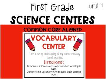 First Grade Science Vocabulary Center: Unit 1