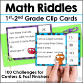 First Grade Math and Second Grade Math Riddle Clip Cards for 1-100
