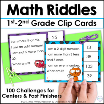 First Grade Math & Second Grade Math Riddle Clip Cards for 1-100