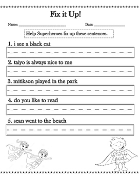 First Grade Sentence Correction