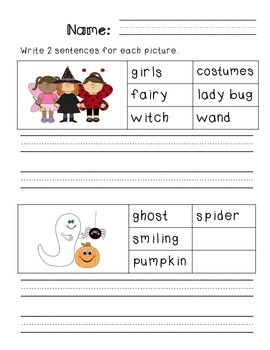 First Grade Sentence Writing Pack- Halloween Theme