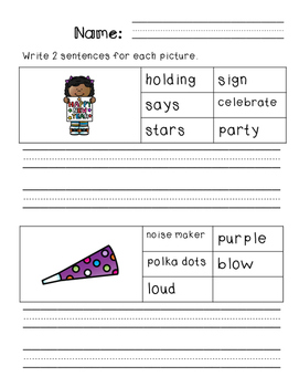 First Grade Sentence Writing Pack- New Year's Theme