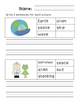 First Grade Sentence Writing Pack- Space Theme