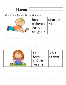 First Grade Sentence Writing Packet