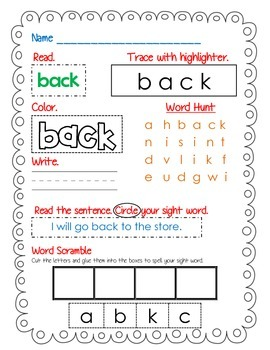 First Grade Sight Word Activity Pack