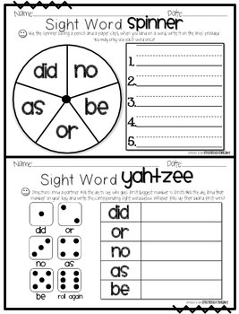 First Grade Sight Word Activity Pack WEEK 1
