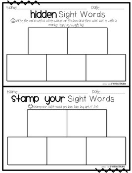 First Grade Sight Word Activity Pack WEEK 2