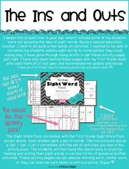 First Grade Sight Word Activity Pack WEEK 3