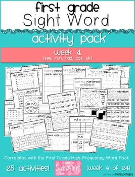 First Grade Sight Word Activity Pack WEEK 4