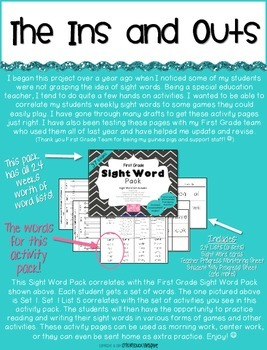 First Grade Sight Word Activity Pack WEEK 5