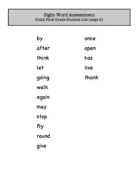 First Grade Sight Word Assessment (Dolch)