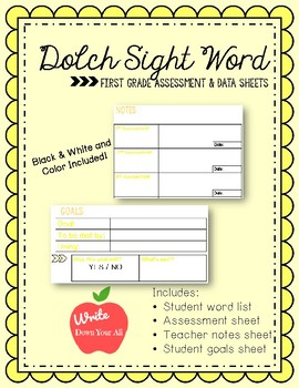 First Grade Sight Word Assessment and Data Sheets