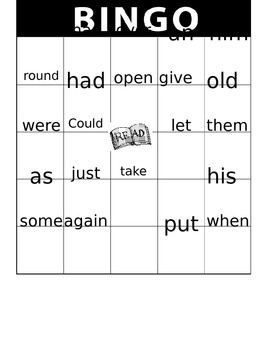 First Grade Sight Word BINGO