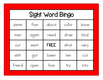 First Grade Sight Word Bingo #1