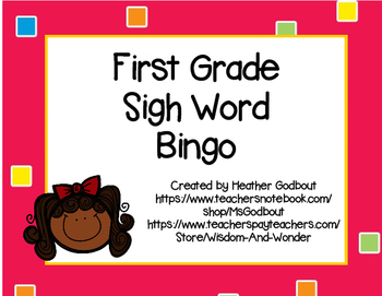 First Grade Sight Word Bingo #1