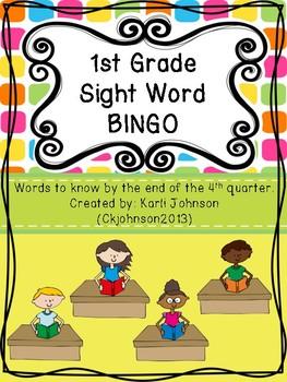 First Grade Sight Word Bingo Fourth Quarter
