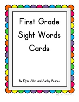 First Grade Sight Word Cards